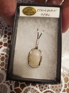 Custom Wire Wrapped Ethiopian Opal Necklace/Pendant Sterling Silver