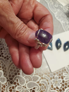 Custom wire wrapped Amethyst Ring Size 6 1/2  Sterling Silver
