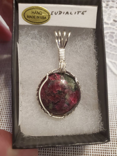Custom Wire Wrapped Eudialite Necklace/Pendant Sterling Silver