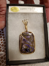 Load image into Gallery viewer, Custom Wire Wrapped Charoite/Copper Necklace/Pendant 14Kgf