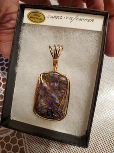Custom Wire Wrapped Charoite/Copper Necklace/Pendant 14Kgf