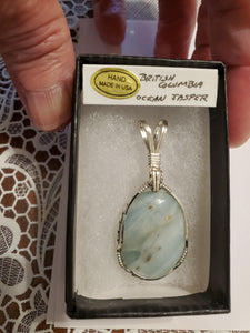Custom Wire Wrapped British Columbia Ocean Jasper Necklace/Pendant  Sterling Silver