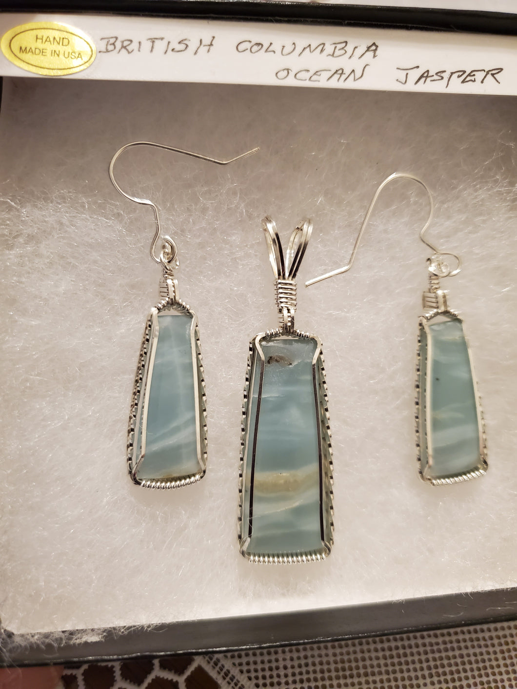 Custom Wire Wrapped British Columbia Ocean Jasper Set Earrings Necklace/Pendant Sterling Silver
