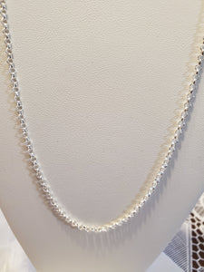 Sterling Silver Chain 26 inch 2.4 mm Rolo Link
