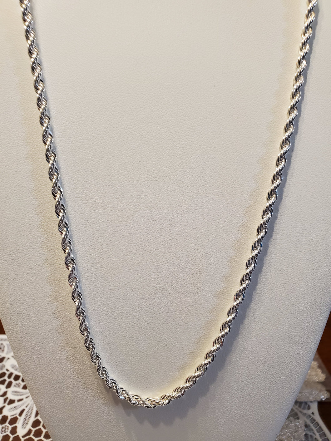 Sterling Silver 22 Inch French Rope Chain 3.2MM