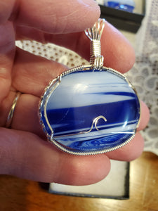 Custom Wire Wrapped Blue Slag Glass Necklace/Pendant Sterling Silver