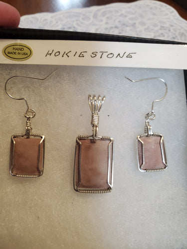 Custom Wire Wrapped Pink Hokie Stone Set Earring Necklace/Pendant Sterling Silver