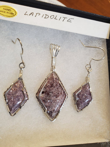 Custom Wire Wrapped Lapidolite Set Earrings Necklace Pendant Sterling Silver