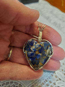 Custom Wire Wrapped Heart Lapis & Bronze Compsite Necklace/Pendant Sterling Silver