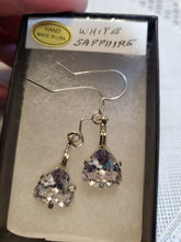 Load image into Gallery viewer, Custom Wire Wrapped White Faceted Sapphire Earrings Sterling Silver