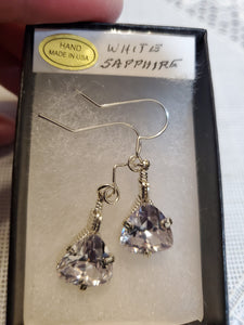 Custom Wire Wrapped White Faceted Sapphire Earrings Sterling Silver