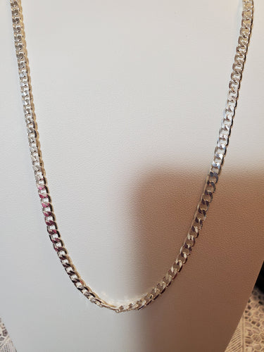 Sterling Silver 28 Inch Chain Beveled Curb 3.75MM