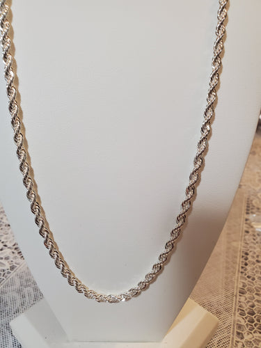 Sterling Silver 20 Inch French Rope Chain 4 MM