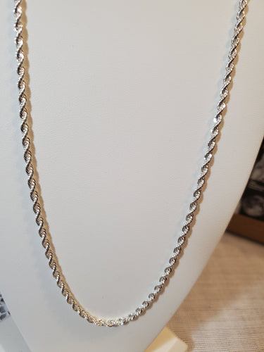 Sterling Silver 23 Inch French Rope Chain 3 MM