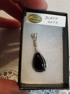 Custom Wire Wrapped Black Onyx Necklace/Pendant Sterling Silver