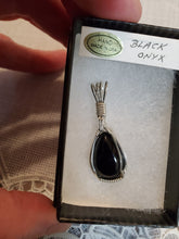 Load image into Gallery viewer, Custom Wire Wrapped Black Onyx Necklace/Pendant Sterling Silver