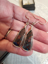 Load image into Gallery viewer, Custom Wire Wrapped Apache Chrysocolla Earrings Sterling Silver