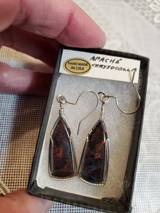 Custom Wire Wrapped Apache Chrysocolla Earrings Sterling Silver