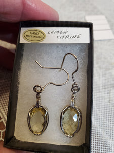 Custom Wire Wrapped Lemon Citrine Facted Earrings Sterling Silver