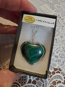 Custom Wire Wrapped Chrysocolla Heart Necklace/Pendant Sterling Silver