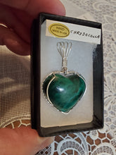 Load image into Gallery viewer, Custom Wire Wrapped Chrysocolla Heart Necklace/Pendant Sterling Silver