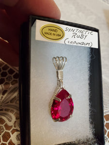Custom Wire Wrapped Synthetic Ruby (Corundum)Necklace/Pendant Sterling Silver