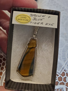 Custom Wire Wrapped Brown & Blue Tiger Eye Necklace/Pendant Sterling Silver