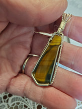 Load image into Gallery viewer, Custom Wire Wrapped Brown & Blue Tiger Eye Necklace/Pendant Sterling Silver