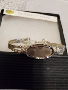 Custom Wire Wrapped Petoskey Stone Bracelet 6 3/4 MIchigan State Stone