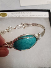 Load image into Gallery viewer, Custom Wire Wrapped Amazonite AAA+ Quailty Virginia Gemstone Bracelet Sterling Silver Size 7 1/2