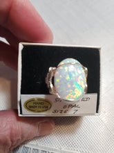 Load image into Gallery viewer, Custom Wire Wrapped Synthetic Opal Ring Size 7 Sterling Silver