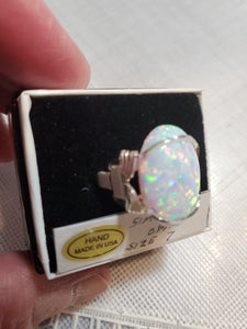 Custom Wire Wrapped Synthetic Opal Ring Size 7 Sterling Silver