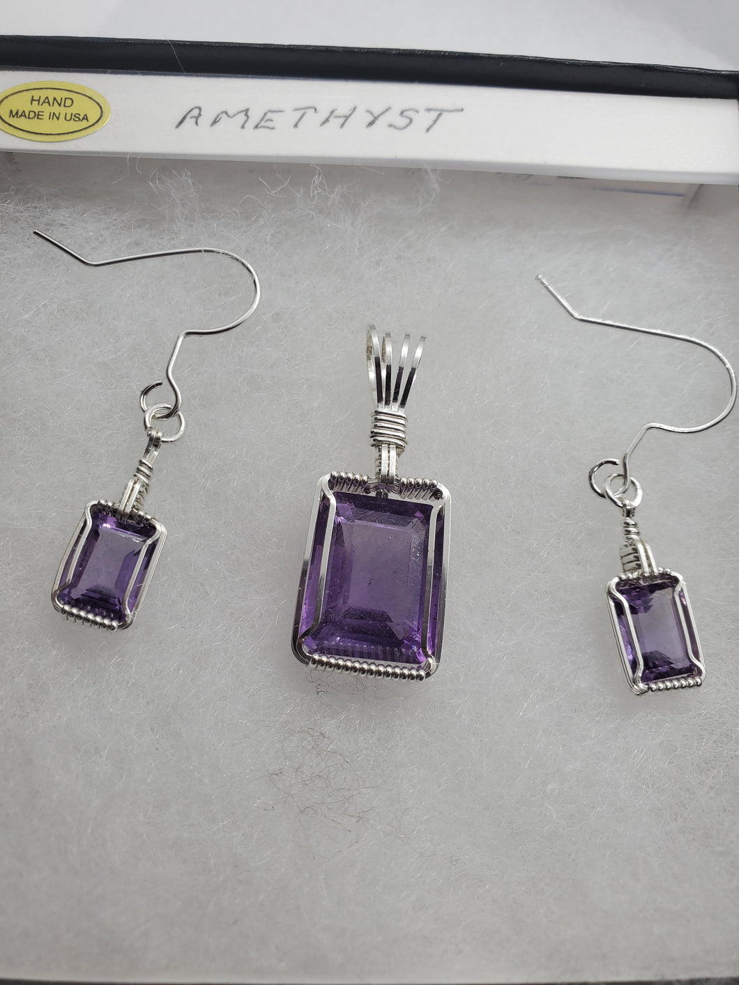 Custom Wire Wrapped Amethyst Set Earrings, Necklace/Pendant Sterling Silver