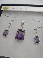 Load image into Gallery viewer, Custom Wire Wrapped Amethyst Set Earrings, Necklace/Pendant Sterling Silver