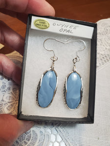 Custom Wire Wrapped Owyhee Opal Earrings Sterling Silver Wire