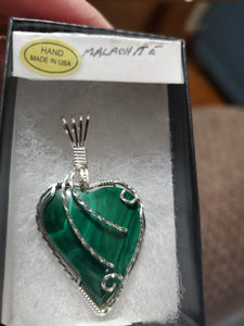 Custom Cut Polished & Wire Wrapped Malachite Heart Necklace/Pendant Sterling Silver