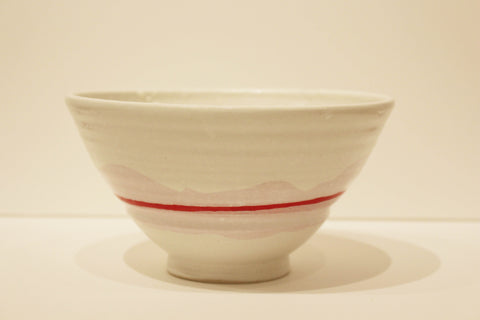 Red Stripe Tall Serving Bowl