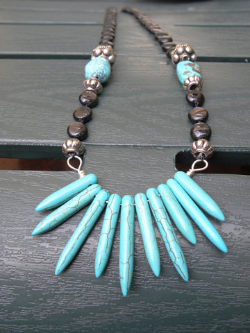 Turquoise Spikes Necklace