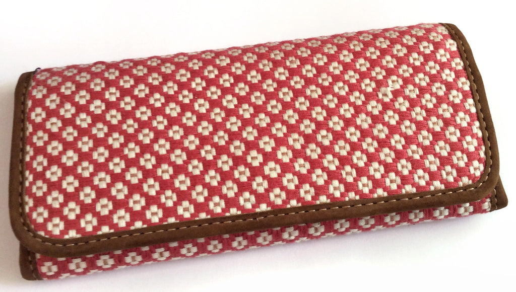 Guatemalan Checkbook Wallets, Shades of Red, Handmade - Milena's Corner