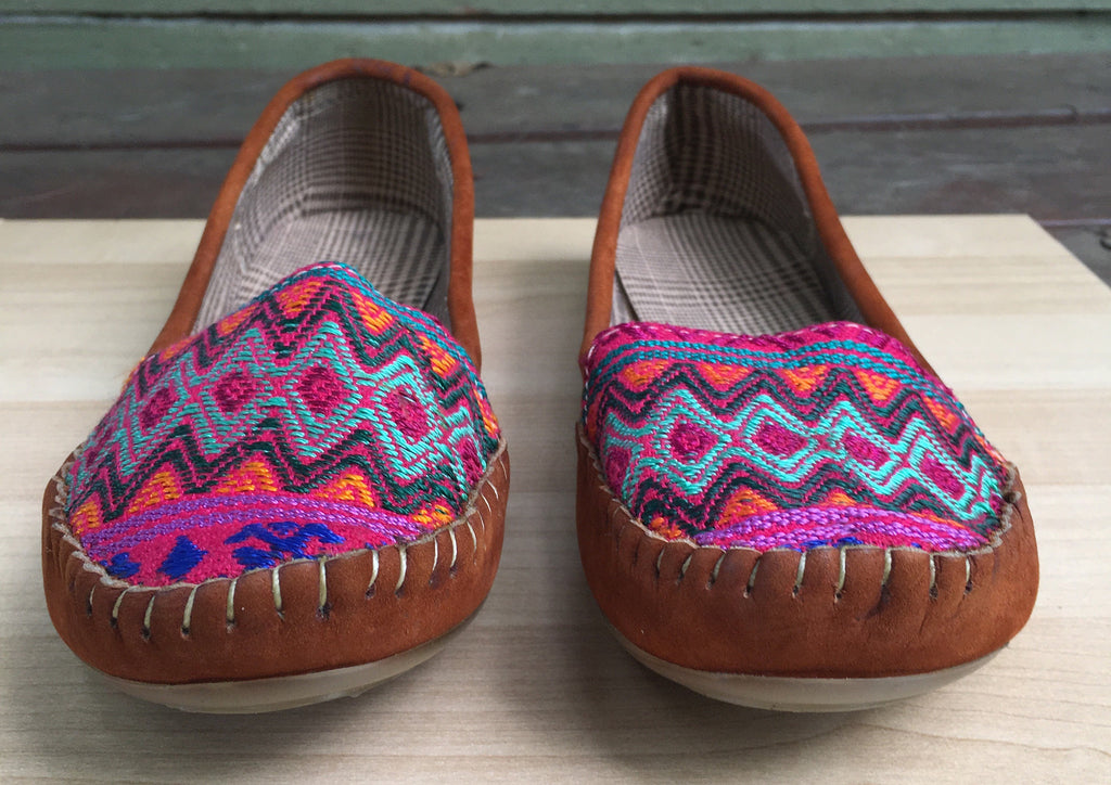 Rosado, Mayan textiles, handmade loafers, moccassins - Milena's Corner