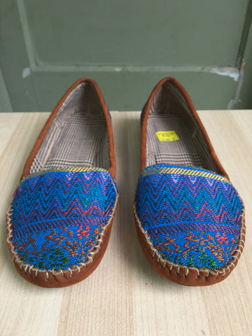 Blues, Mayan textiles, handmade, loafers, Moccassins