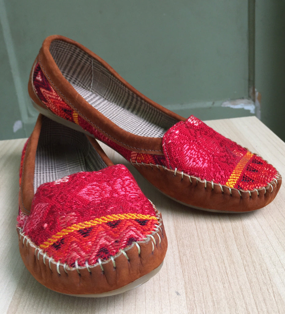 Red, Mayan textiles, handmade, hamdwoven loafers - Milena's Corner