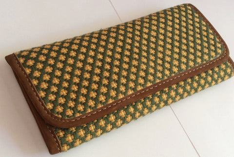 Guatemalan Checkbook Wallets, Shades of green, Handwoven