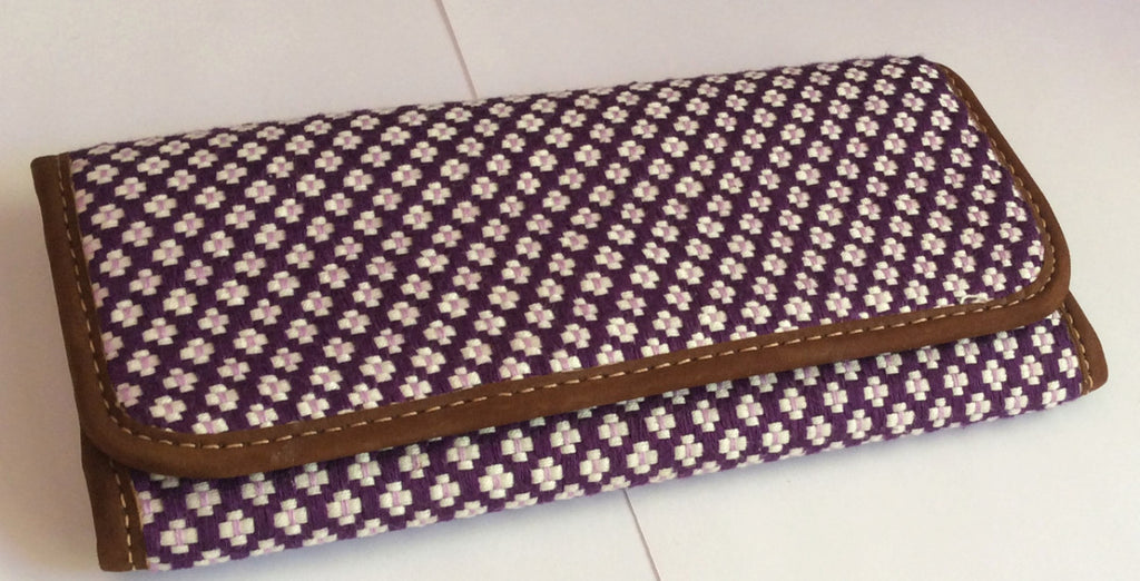 Ethnic Guatemalan Checkbook Wallets, Shades of Purple, Handmade Wallet