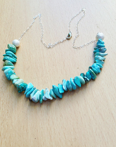 Turquoise Handmade Necklace with Sterling Silver Chain; ON SALE!