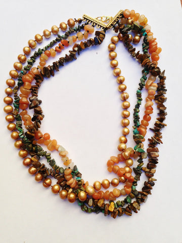 Multi-strand Necklace with Tiger's Eye, Freshwater Pearls, Turquoise and Carnelian with beautiful toggle