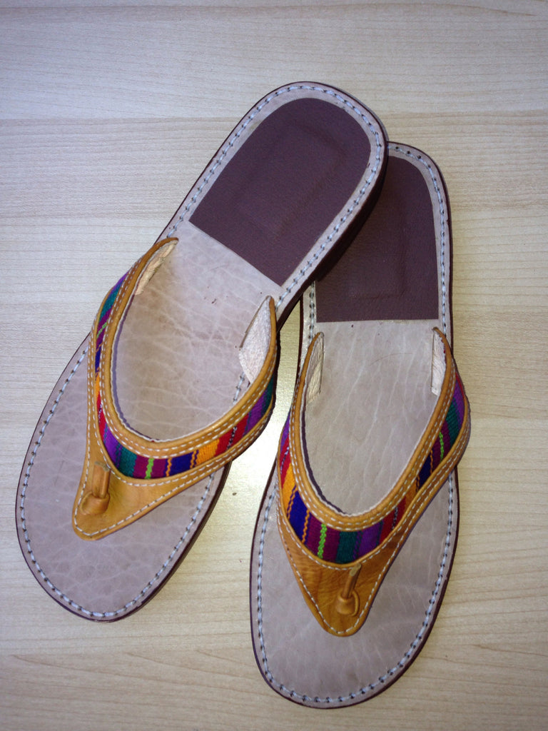 Handmade Guatemalan Slip On Leather Sandals - Milena's Corner