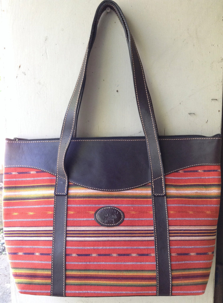 Handwoven handmade in Guatemala, leather bag