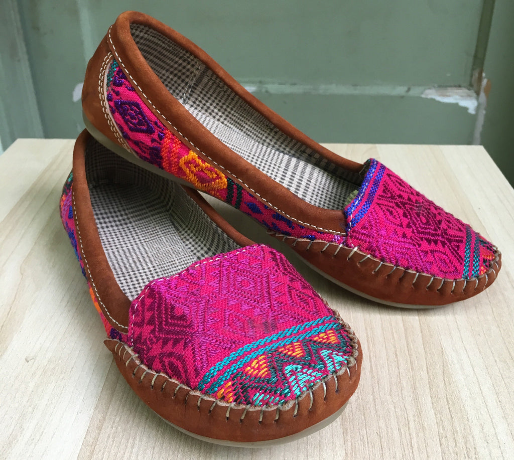 Wild pink, Mayan textiles, handmade, handwoven, loafers