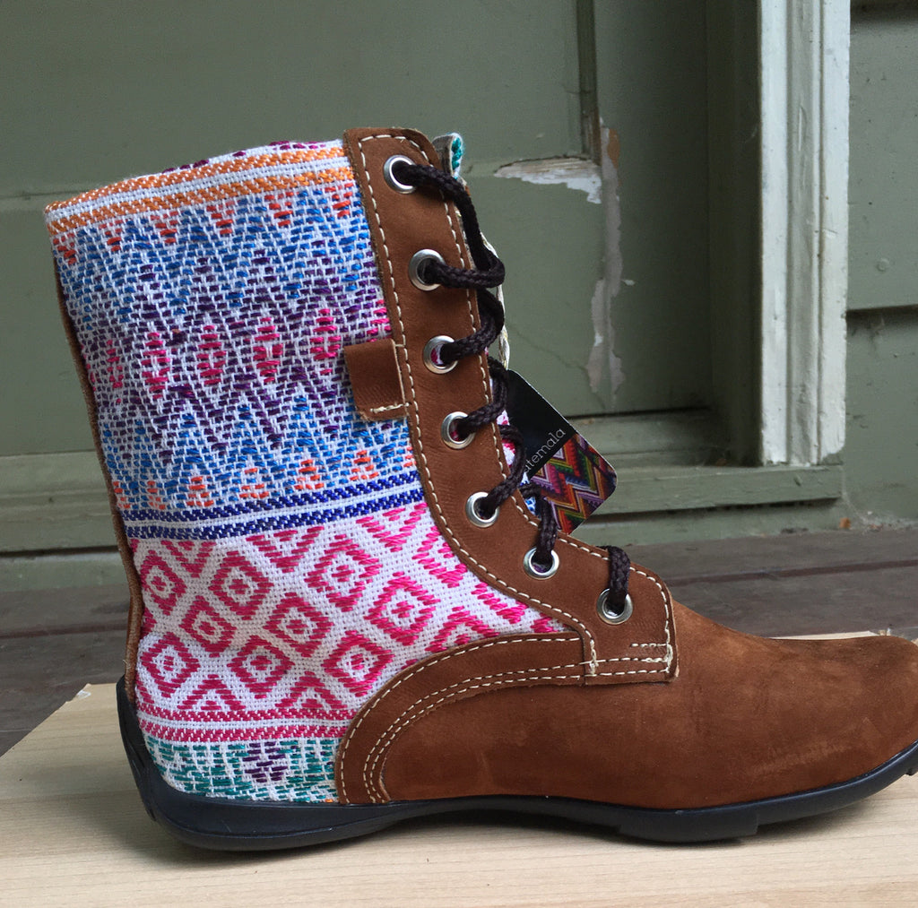 Guatemalan embroidered textiles high boots